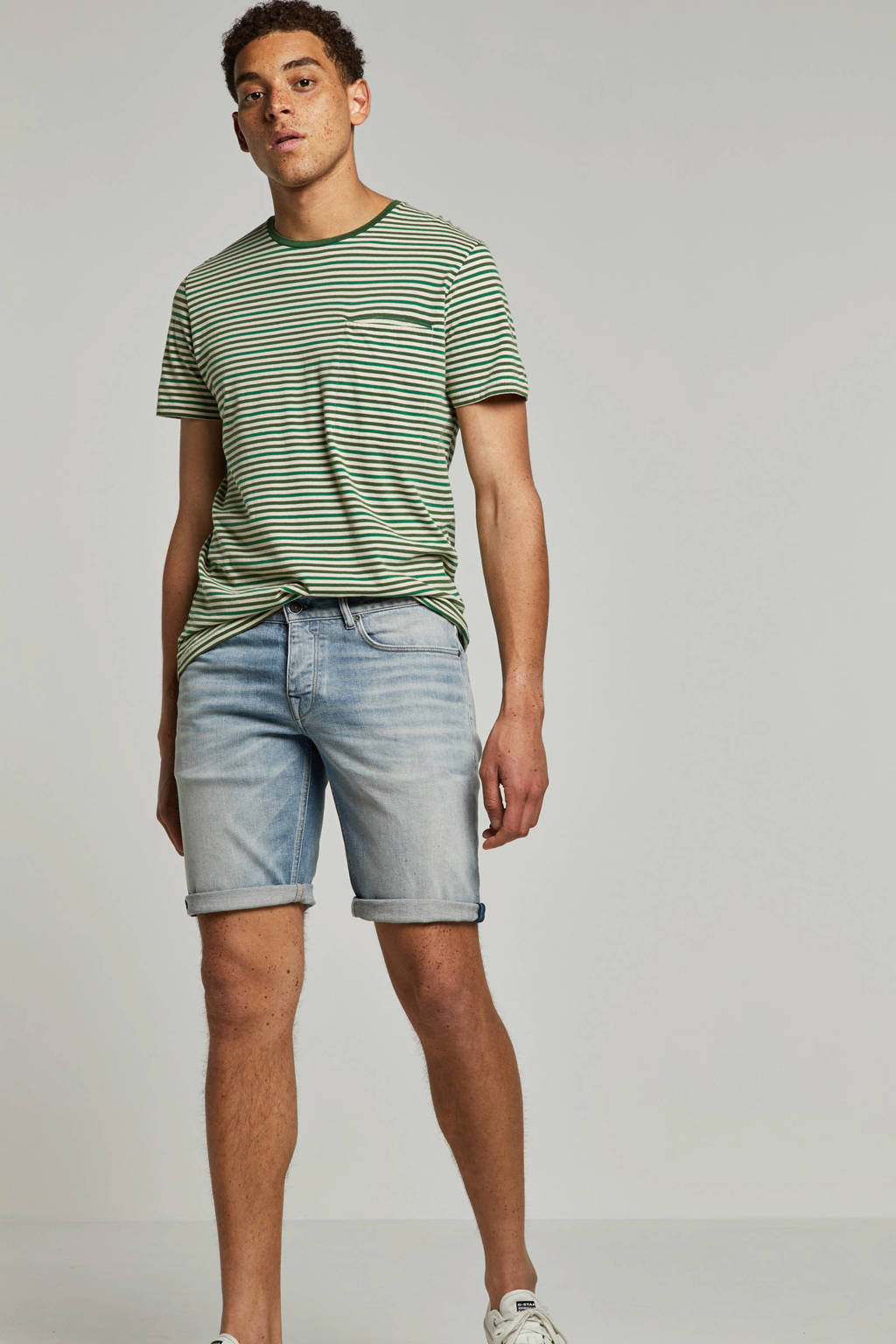 Cast Iron regular fit jeans short, Light denim
