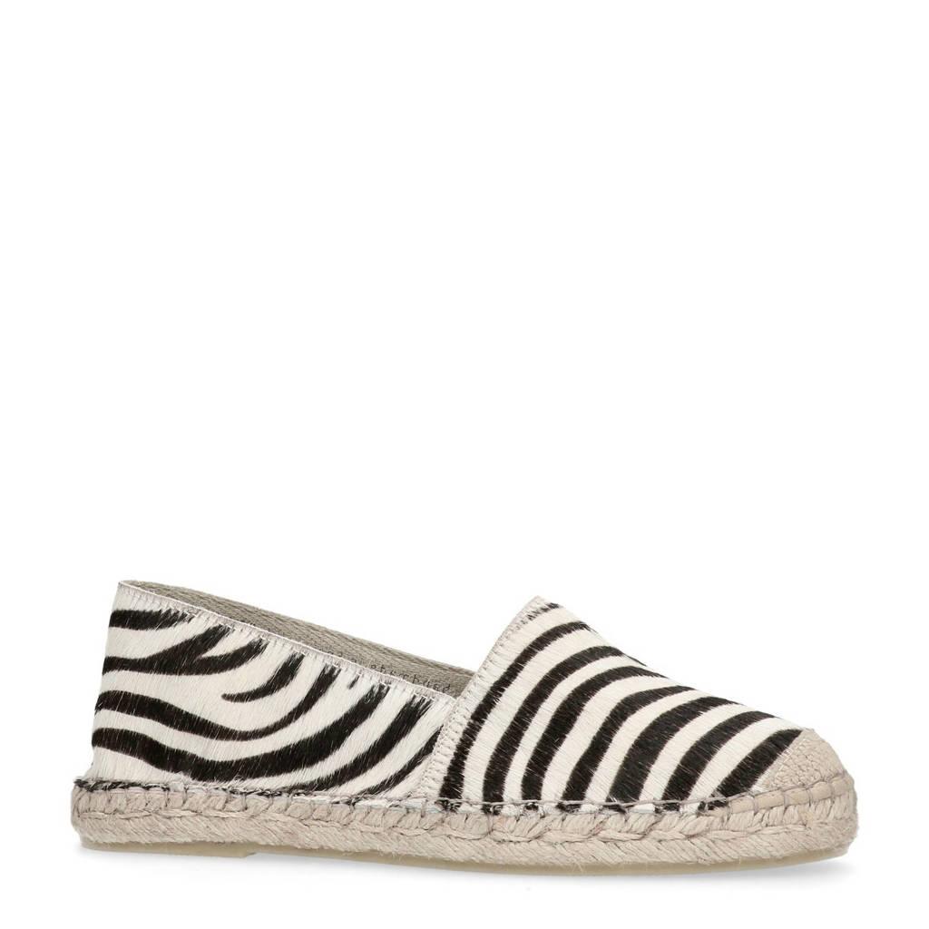 Manfield leren espadrilles met zebraprint, Zwart/wit