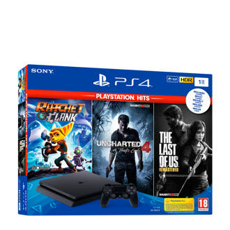 PlayStation 4 Slim 1TB + Ratchet & Clank + Uncharted 4 + The Last of us remastered