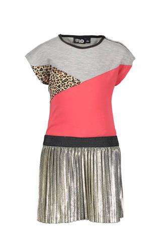 jurk met plissé rok grijs