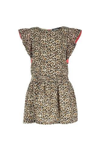jurk met panterprint en ruches beige
