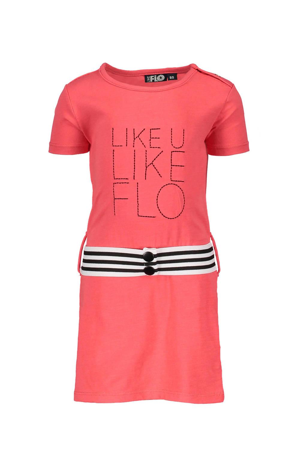Like Flo jurk met tekst en contrast tailleband donkerroze, Donkerroze