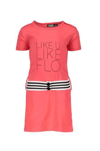 jurk met tekst en contrast tailleband donkerroze