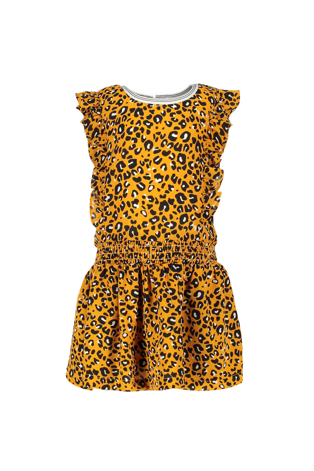 Like Flo jurk met ruches en panterprint okergeel, okergeel/zwart