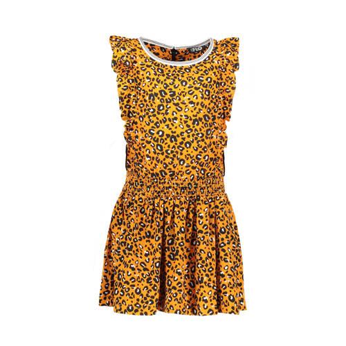 Like Flo jurk met ruches en panterprint oker kopen