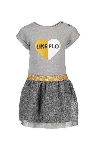 jurk met transparante rok en print grijs