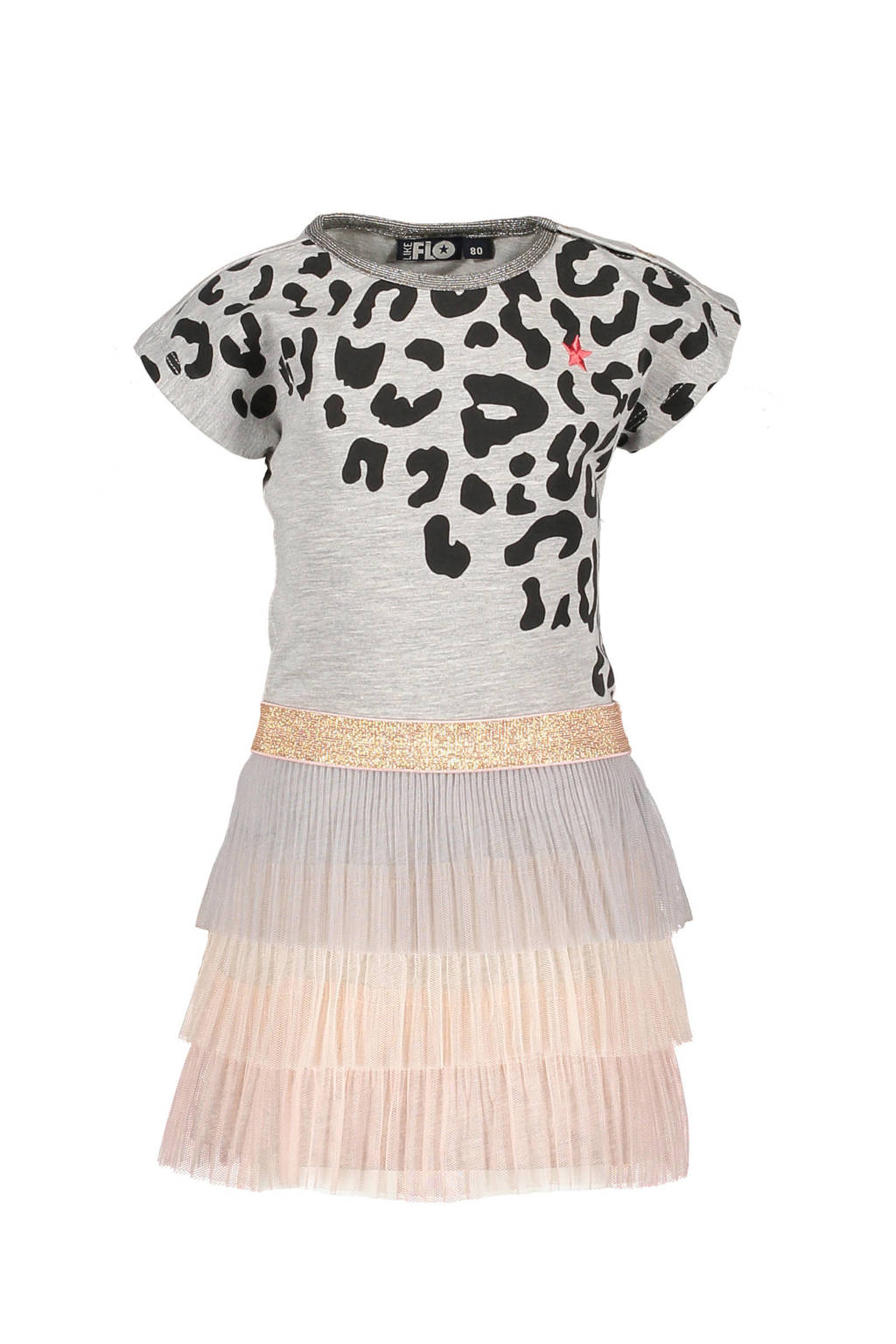 Like Flo jurk met plooirok in laagjes grijs, Grijs melange/roze/goud