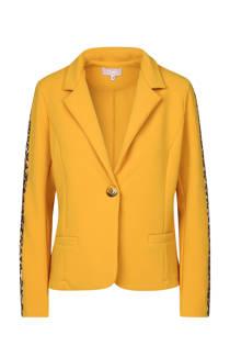 Cassis blazer met 2 panterprint strepen geel (dames)