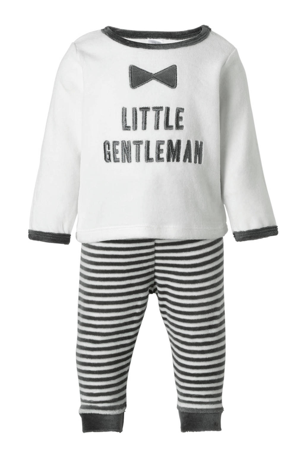 C&A Baby Club   velour pyjama met tekst en strepen, Wit/grijs