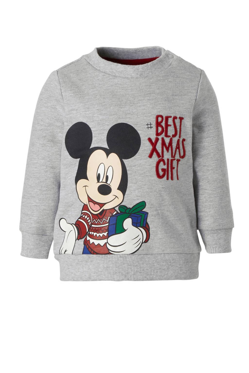 C&A Baby Club Mickey Mouse kersttrui grijs, Grijs melange