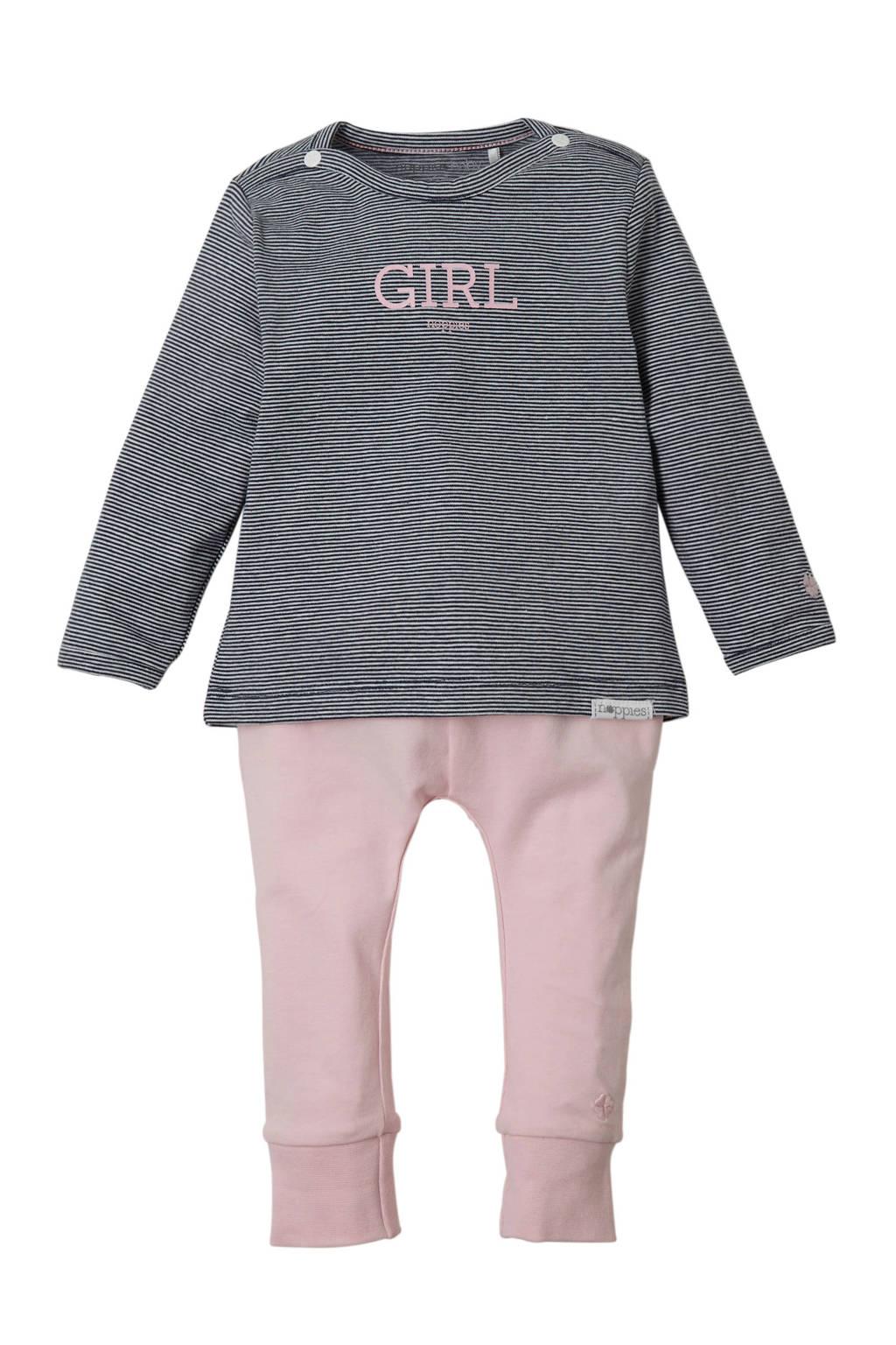 Noppies newborn baby T-shirt met printopdruk en tekst wit, Licht roze