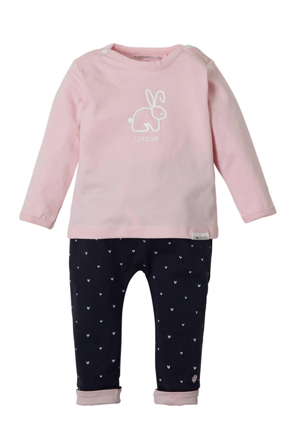 Noppies newborn baby jersey broek Fecan in giftbox, Roze/ marine/ wit