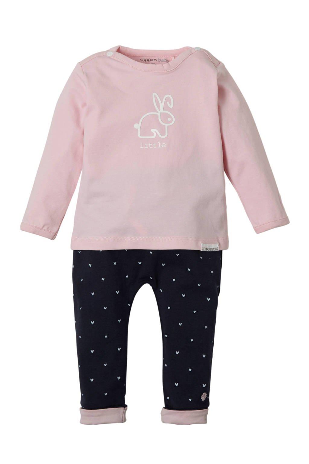 Noppies newborn baby jersey broek Fecan met strepen, Roze/ marine/ wit