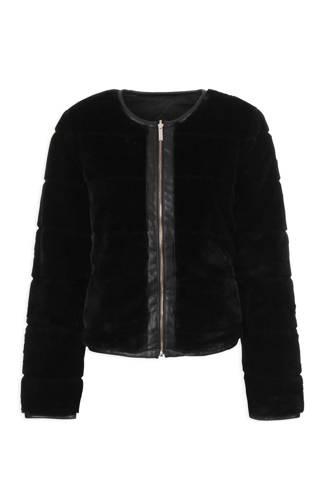 omkeerbaar jasje met imitatiebont zwart