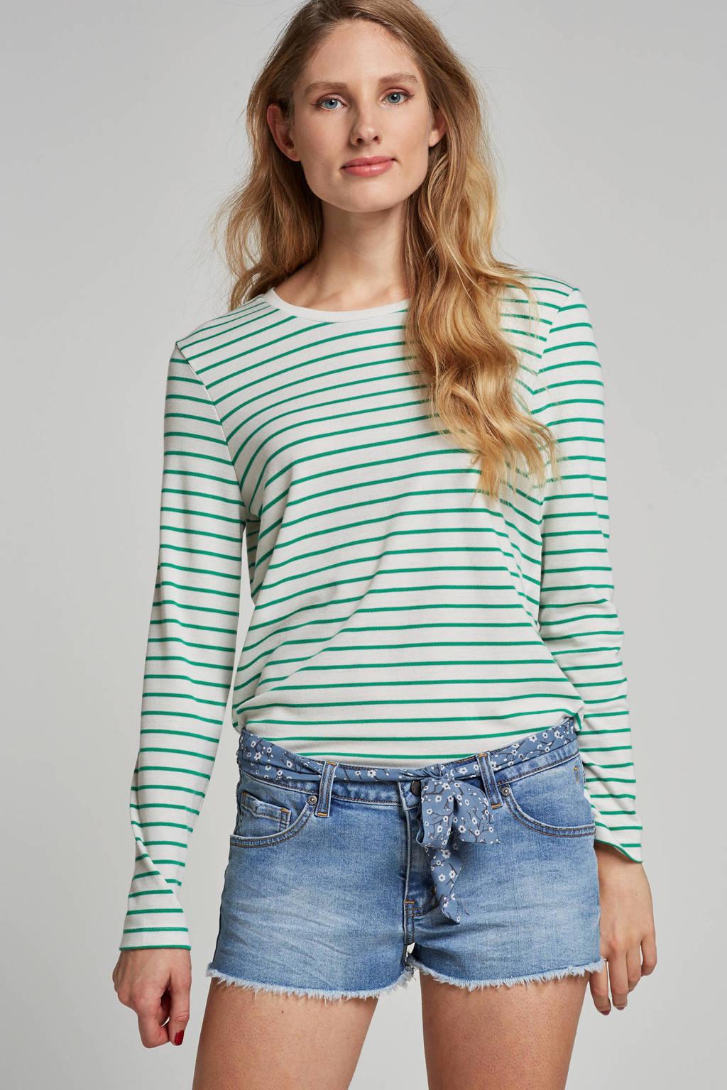 VERO MODA gestreepte trui met anker borduursel, Wit/groen