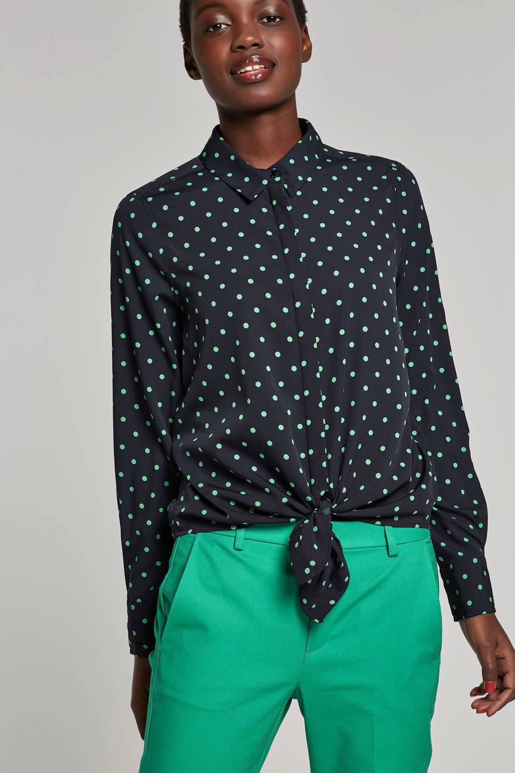 VERO MODA gestipte blouse met knoop detail, Donkerblauw/groen