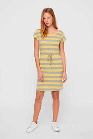 gestreepte jersey jurk van biologisch katoen grijs/geel