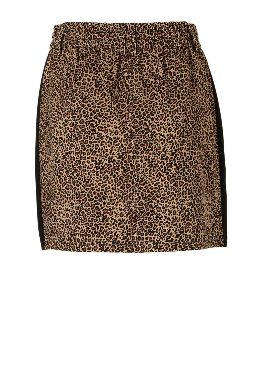 ONLY rok met panterprint en zij streep, Bruin/zwart