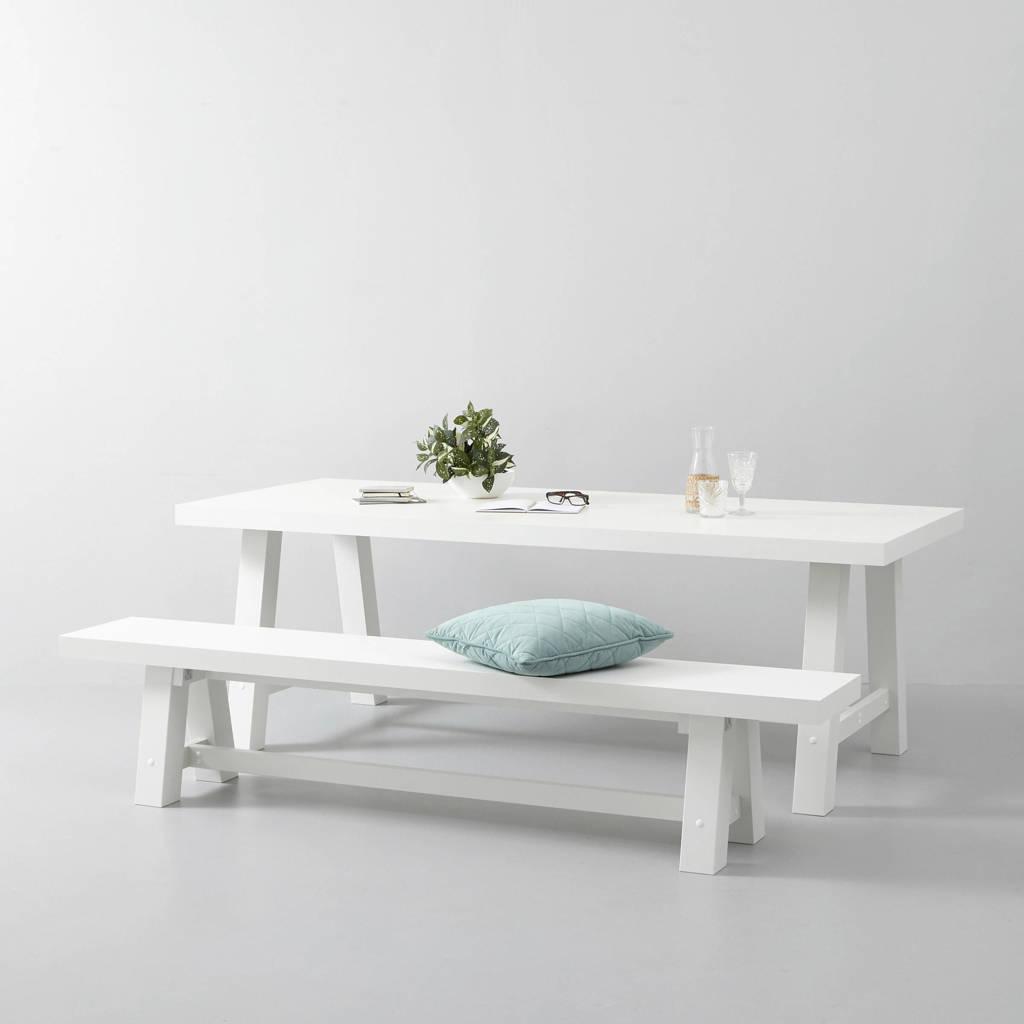 whkmp's own eettafel en eetkamerbankje Bushwick 220 cm, Wit