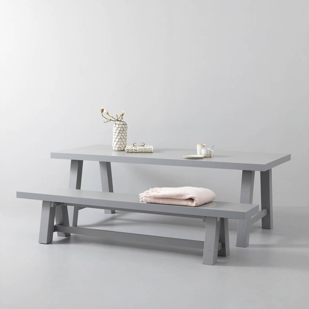whkmp's own eettafel en eetkamerbankje Bushwick 220 cm, Lichtgrijs