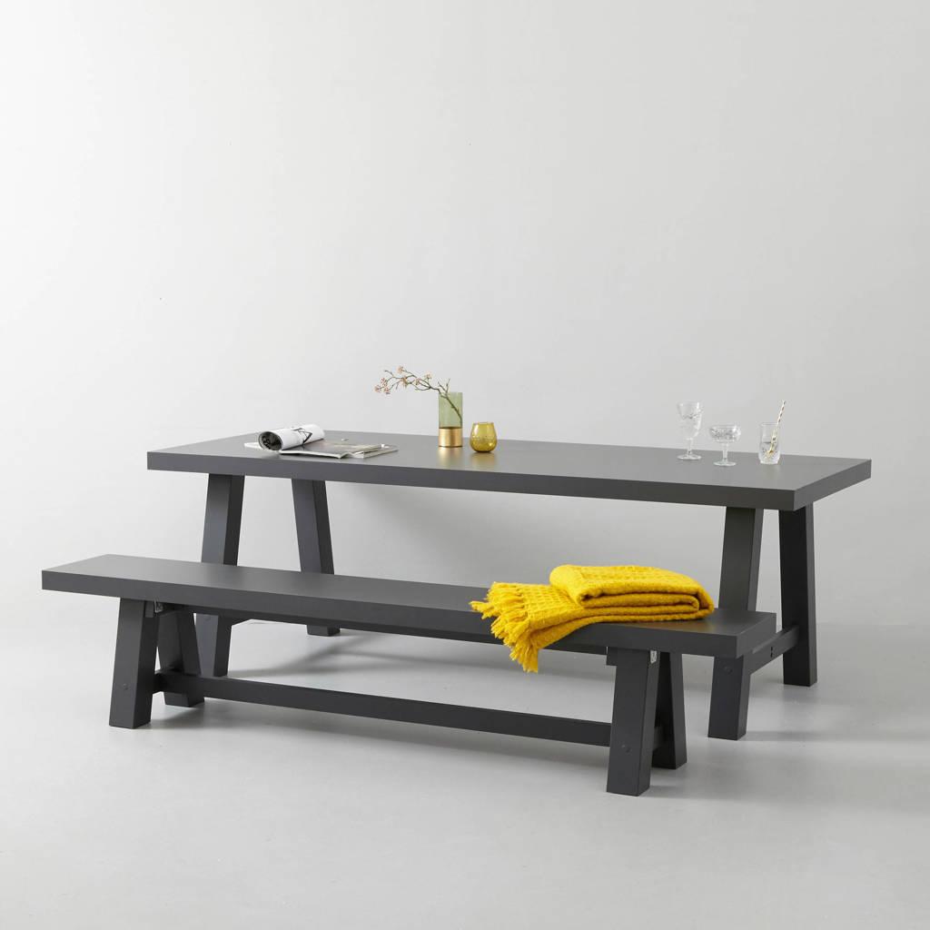 whkmp's own eettafel en eetkamerbankje Bushwick 220 cm, Antraciet