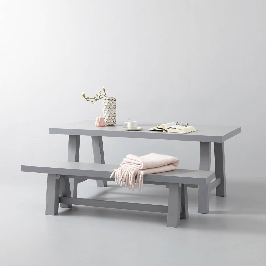 wehkamp home eettafel en eetkamerbankje Bushwick 180 cm, Lichtgrijs