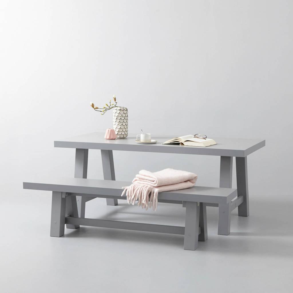 whkmp's own eettafel en eetkamerbankje Bushwick 180 cm, Lichtgrijs
