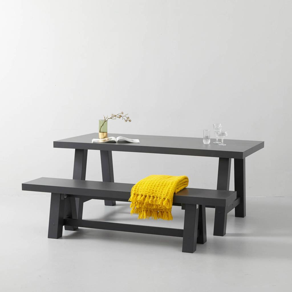 wehkamp home eettafel en eetkamerbankje Bushwick 180 cm, Antraciet