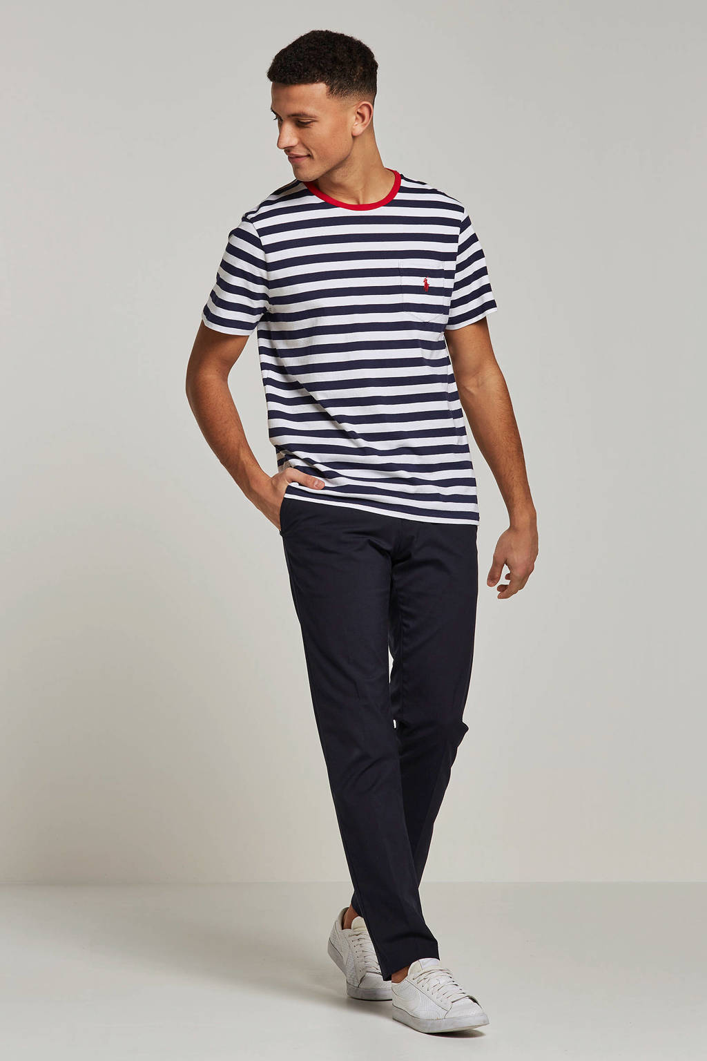POLO Ralph Lauren T-shirt, Wit/donkerblauw