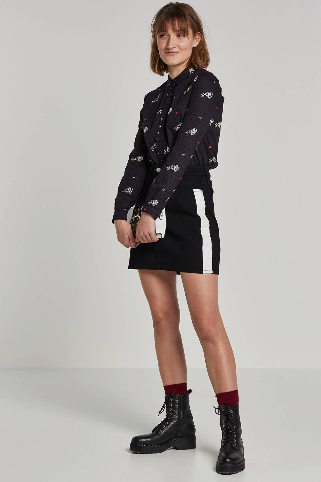 Scotch & Soda blouse met borduursels en stieren print, Zwart/wit/rood