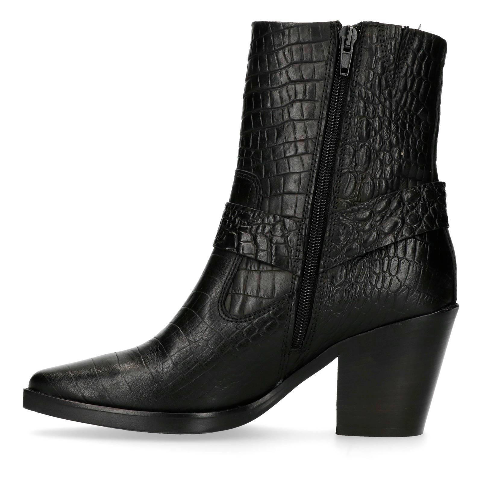 leren cowboy laarzen met krokodillenprint zwart
