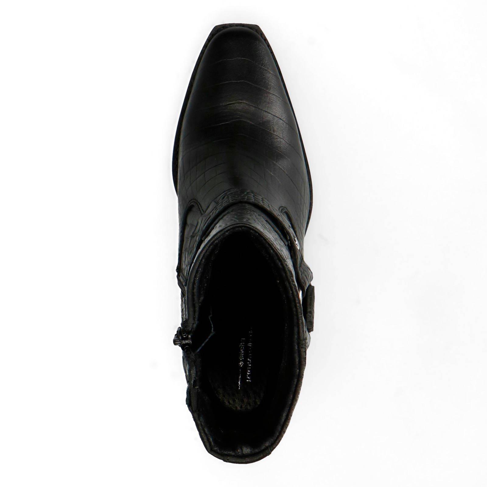 Sacha leren cowboy laarzen met krokodillenprint zwart | wehkamp