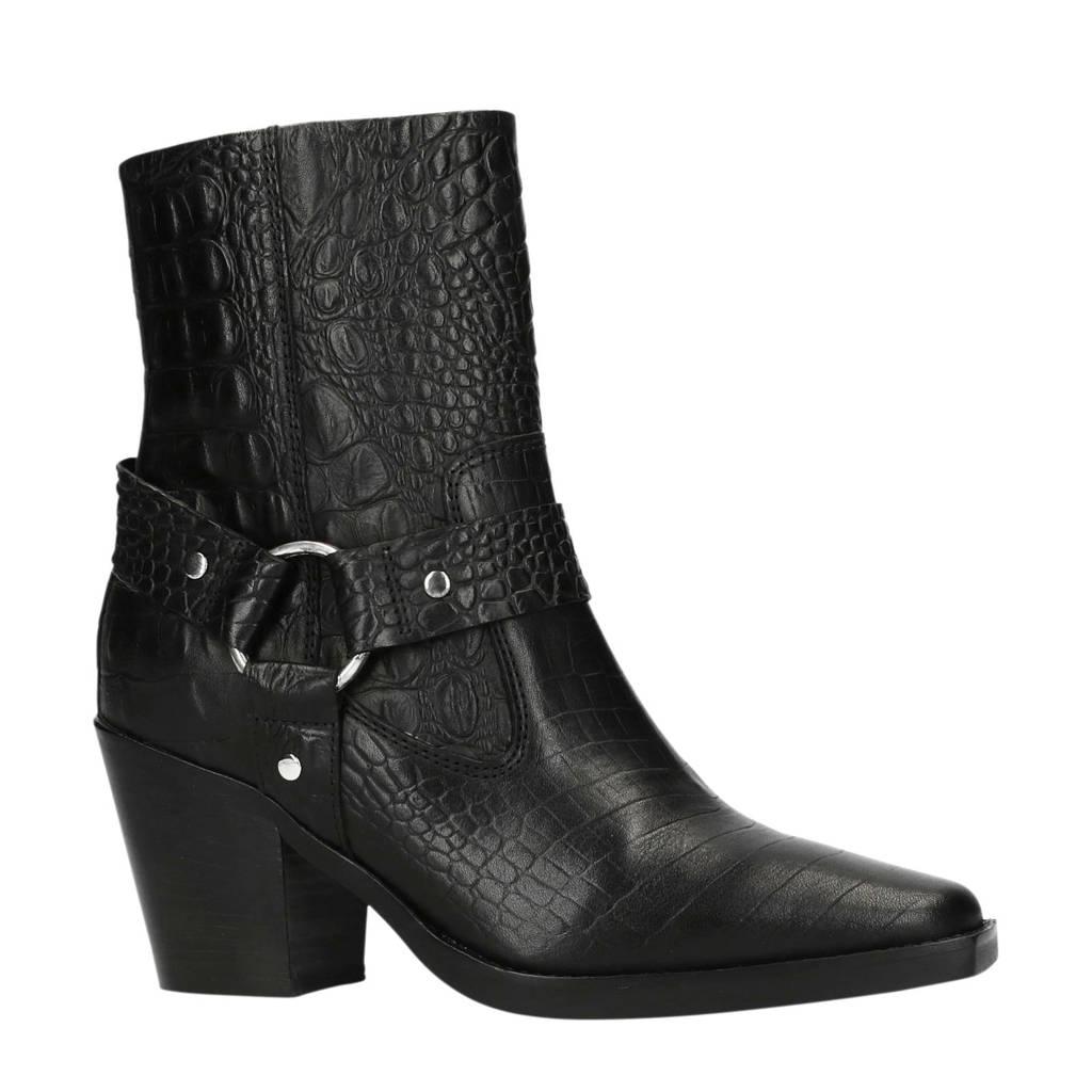 Sacha leren cowboy laarzen met krokodillenprint zwart, Zwart