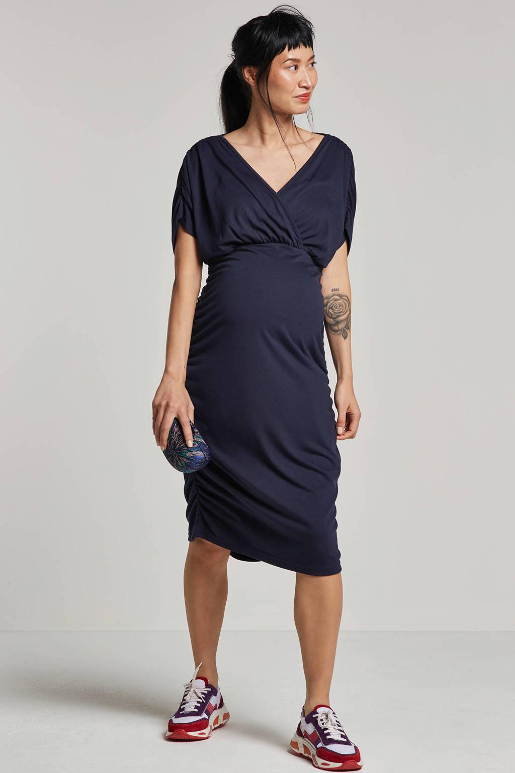 MAMALICIOUS jurk met plooien, Donkerblauw