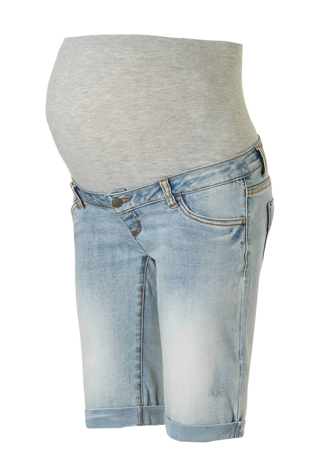 MAMA-LICIOUS short met buikband, Light blue denim