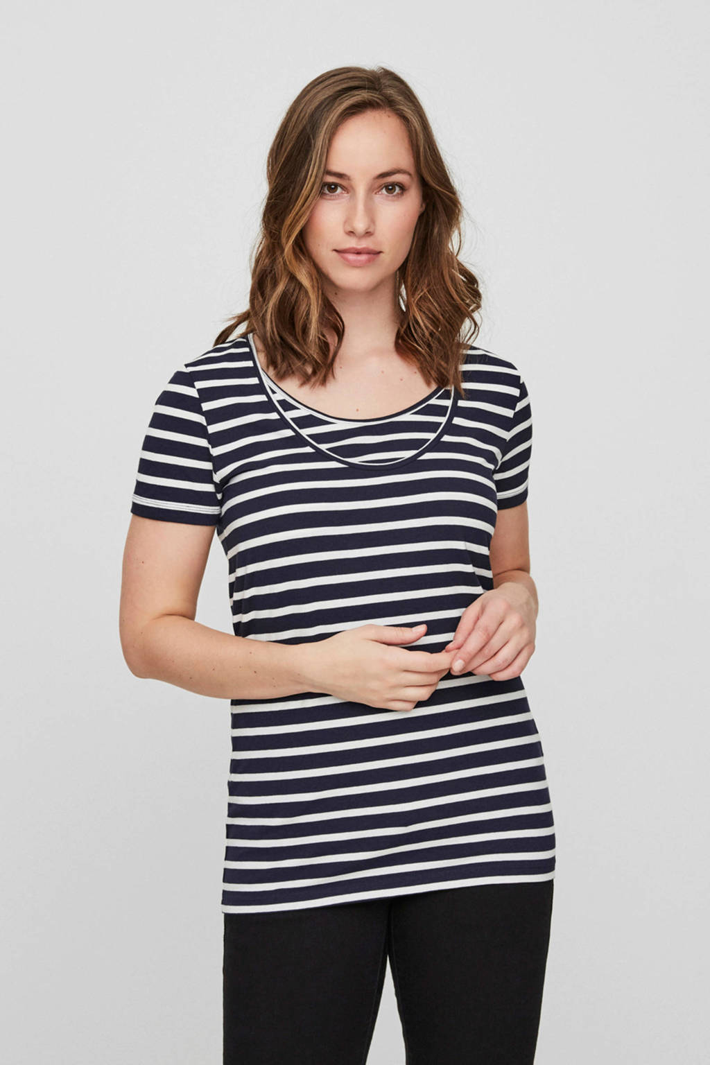 MAMALICIOUS gestreepte zwangerschaps- en voedingstop Lea - set van 2 blauw/wit - zwart/wit, Blauw/wit - Zwart/wit