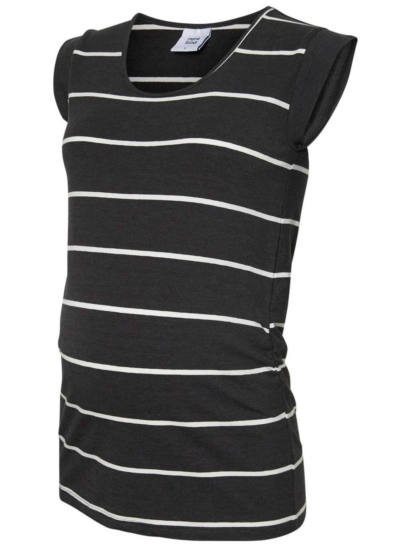 MAMA-LICIOUS gestreept zwangerschaps T-shirt Ally grijs, Antraciet/wit