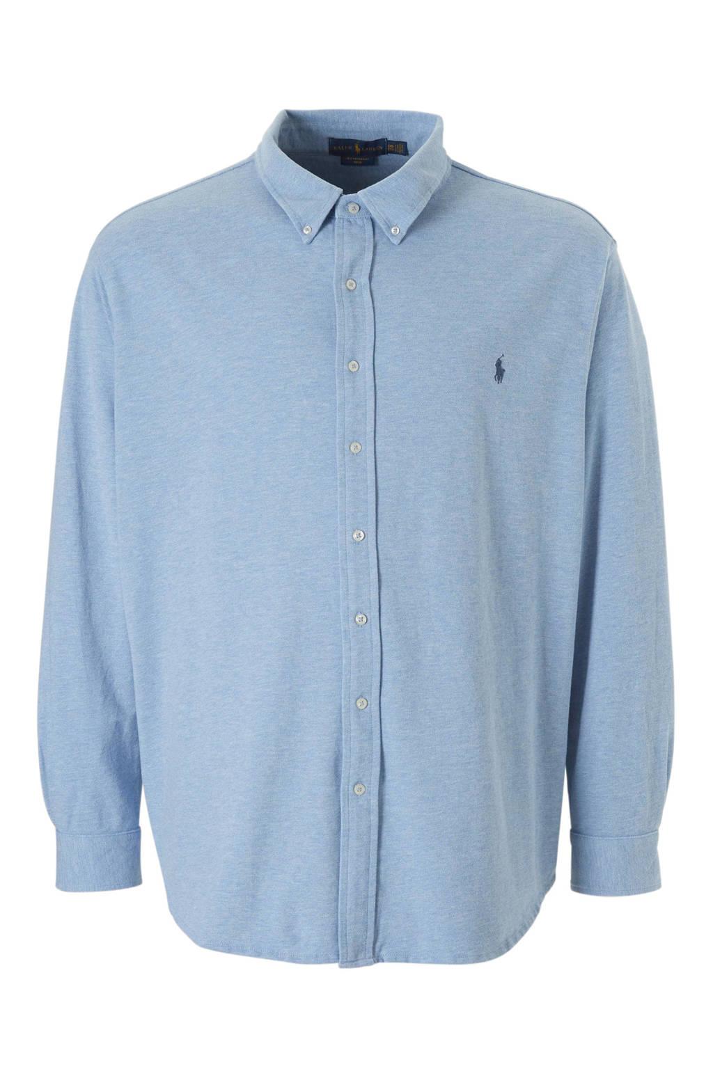 POLO Ralph Lauren Big & Tall +size gemêleerd jersey overhemd blauw, Blauw
