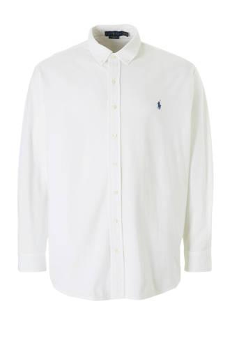 +size jersey overhemd wit