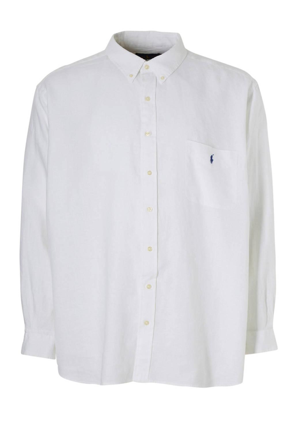 POLO Ralph Lauren Big & Tall +size linnen overhemd, Wit