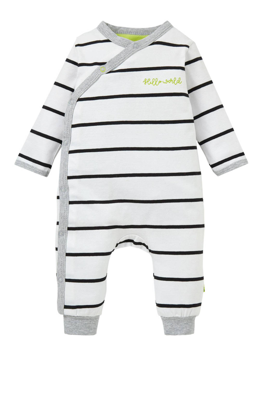 B.E.S.S baby gestreepte boxpak wit, Wit/zwart