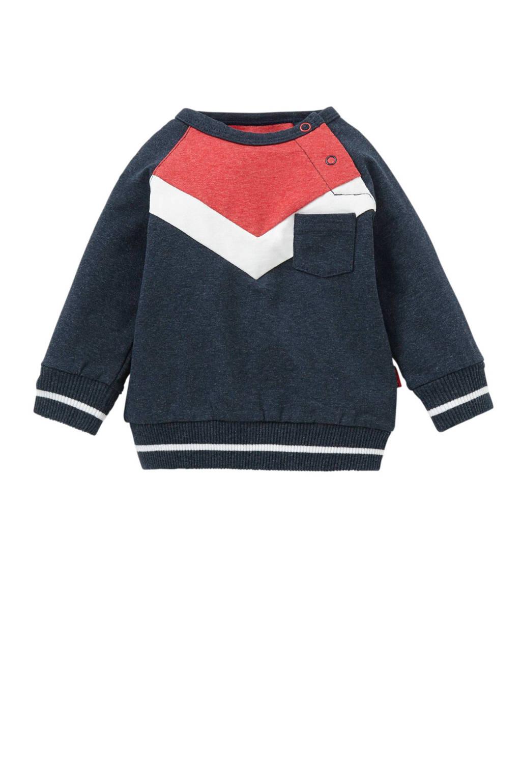 B.E.S.S newborn baby sweater, Donkerblauw/rood/wit