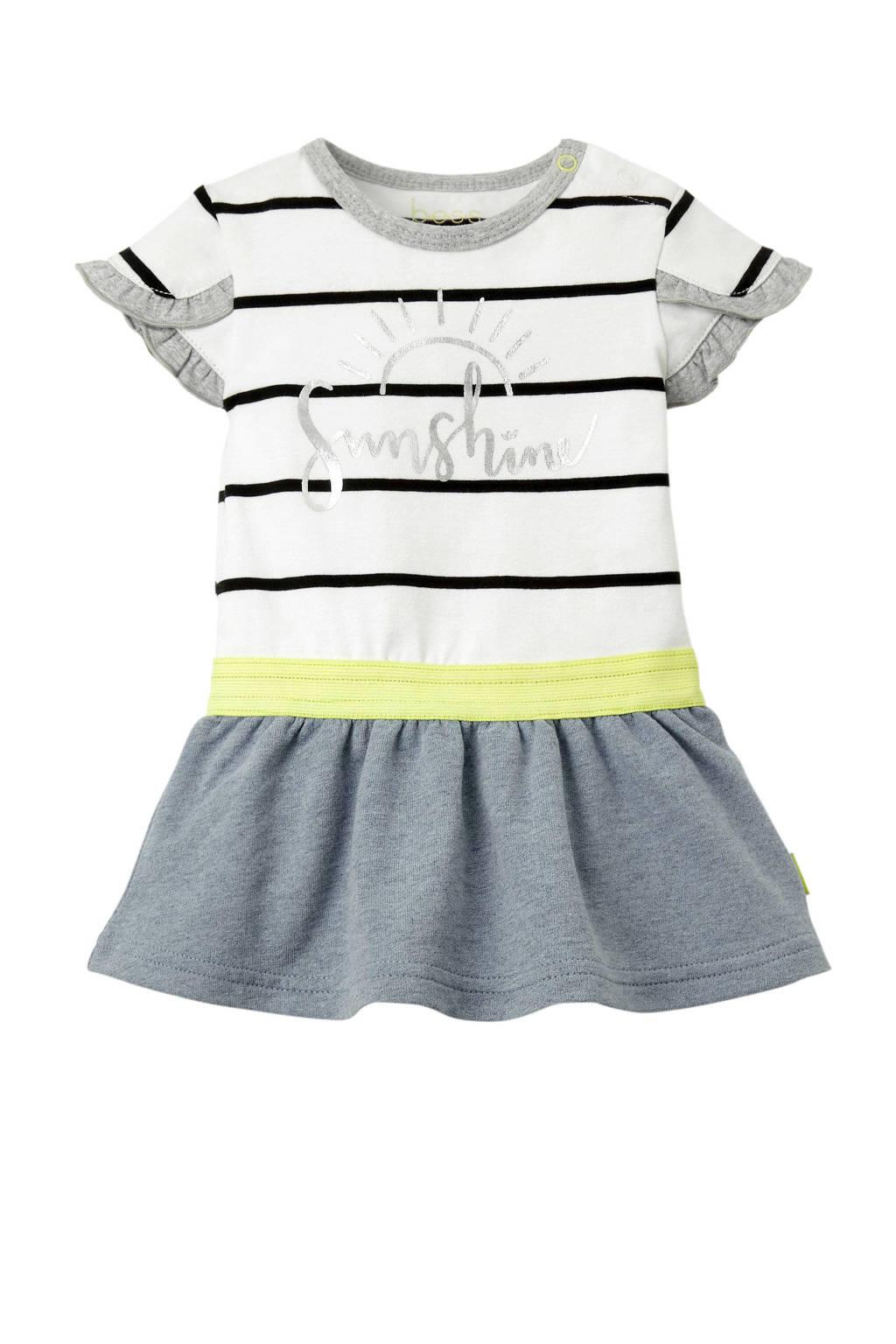 B.E.S.S gestreepte baby jurk met tekst wit, Wit/zwart/grijs/geel