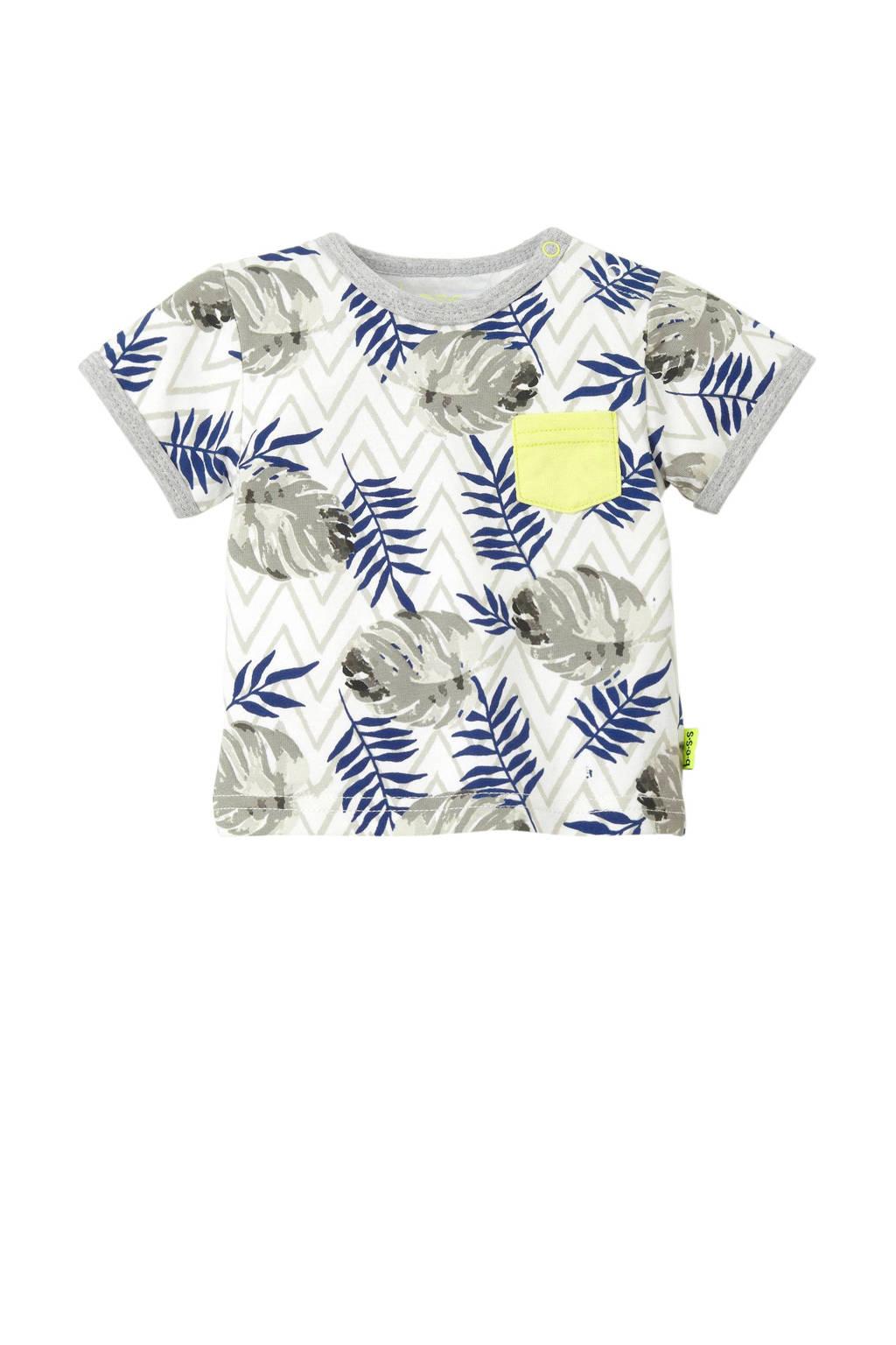 B.E.S.S baby T-shirt met borstzak grijs, Grijs/wit/geel/donkerblauw