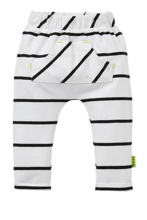 B.E.S.S   gestreepte joggingbroek wit/zwart