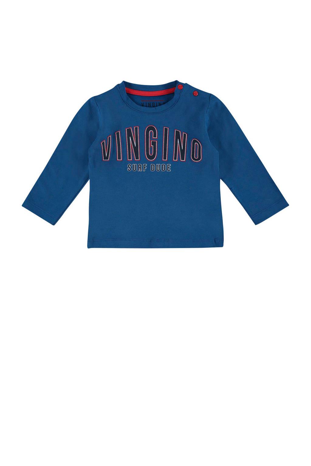 Vingino longsleeve met logo Josah blauw, Blauw