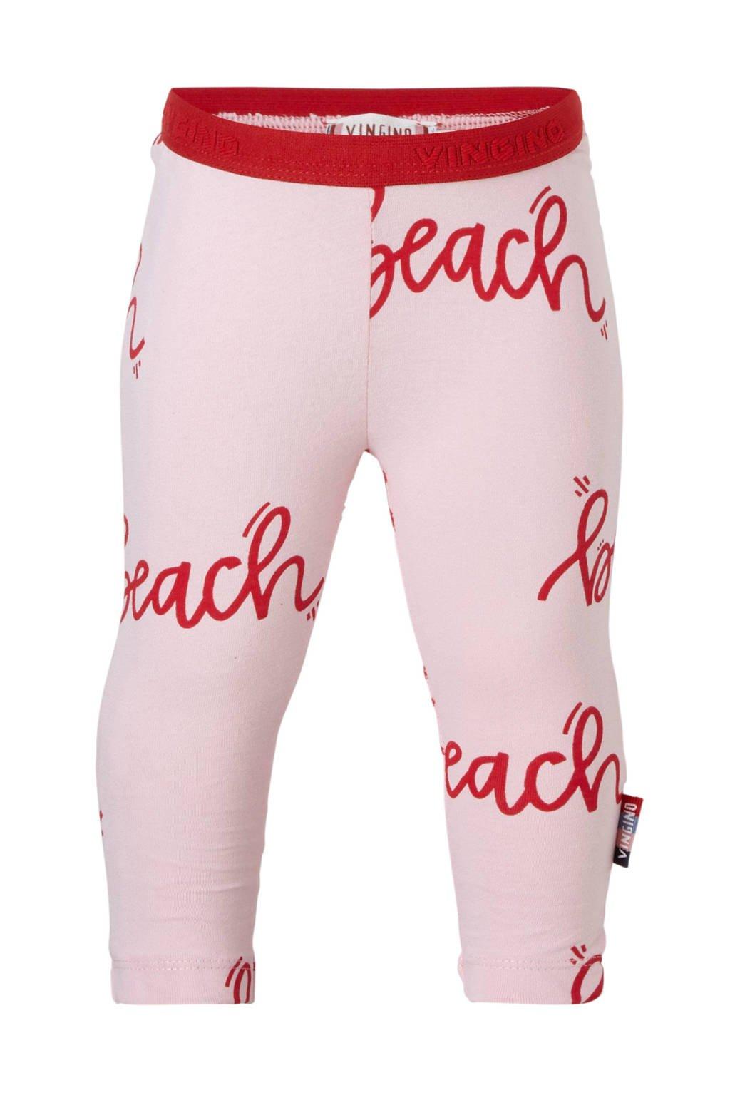 Vingino legging met tekst Susie roze, Roze/rood