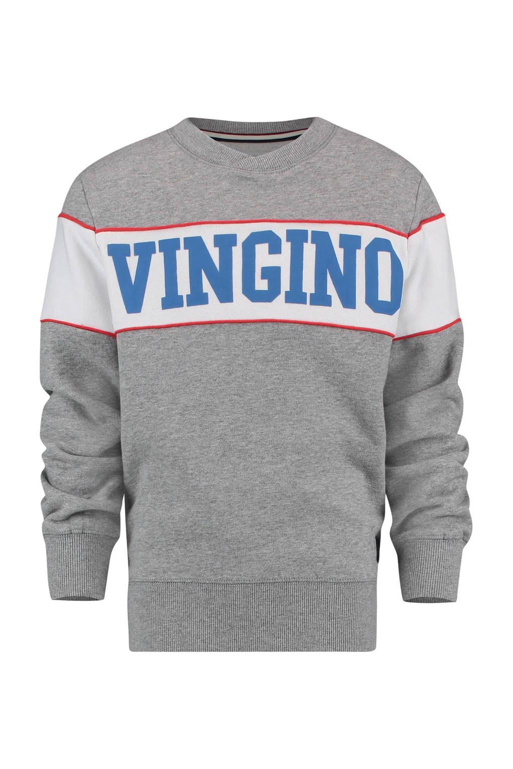 Vingino sweater met tekst Nabko grijs melange, Grijs melange/wit