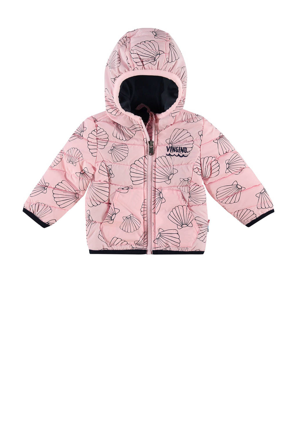 Vingino tussenjas met allover print Tedda roze, Roze/blauw