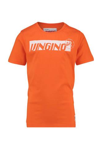 T-shirt Hadrea met logo oranje
